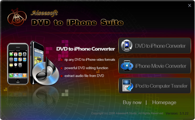 DVD to iPhone Suite Screenshot Screenshot